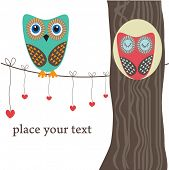 Owls couple in love on the tree. Vector