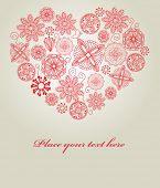 Lace heart for valentine`s card. Vector.