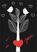 Birds on love tree. Vector valentine`s card.