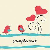 Birds under heart tree. Valentine`s card.
