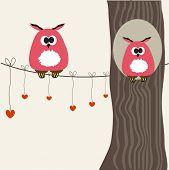 Valentine card with owls couple. Vector illustration.