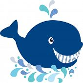 Happy whale. Vector illustration.