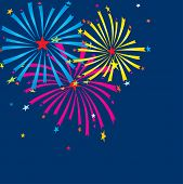 Fireworks on dark background. Vector illustration