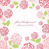 Floral card with pink roses