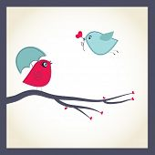 picture of serenade  - Cute vector card with birds couple - JPG