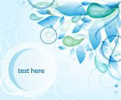 Abstract blue background with water drops, leaves and circles