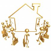 Realty Agents Gathering Around Blank Home Symbol