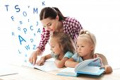 Teacher working with children at kindergarten. Speech therapy concept poster