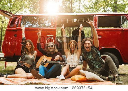 Group of friends hippies men