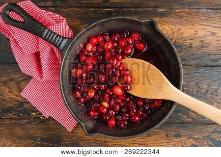 Cooking Of Traditional Cranberry Sauce