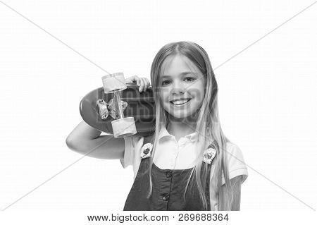 poster of Lets Ride. Girl Smiling Face Carries Penny Board On Shoulder Isolated White Background. Originally D