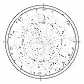 Astrological Celestial Map Of Northern Hemisphere. Horoscope On January 1, 2019 (00:00 Gmt). Detaile poster