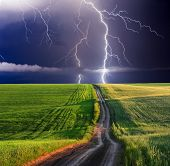 stock photo of thunder-storm  - summer storm beginning with lightning - JPG