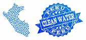 Map Of Peru Vector Mosaic And Clean Water Grunge Stamp. Map Of Peru Designed With Blue Water Dews. S poster