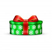 Gift Box 3d, Red Ribbon Bow Isolated White Background. Decoration Present Green Gift-box For Happy H poster