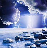 image of lightning bolts  - Dark ominous clouds - JPG