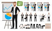 Male Business Vector Character Set. Business Man Cartoon Character Creation Talking  Business Presen poster