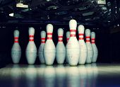 bowling pins closeup