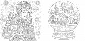 Coloring Pages. Coloring Book For Adults. Colouring Pictures With Winter Girl And Crystal Snow Ball. poster