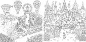 Coloring Pages. Coloring Book For Adults. Colouring Pictures With Light House And Fairy Tale Castle. poster