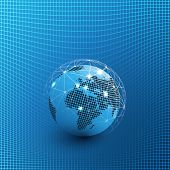 Futuristic Global Technology, Networking And Cloud Computing Design Concept With Earth Globe And 3d  poster