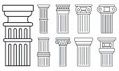 Ancient Column Icon Set. Outline Set Of Ancient Column Vector Icons For Web Design Isolated On White poster