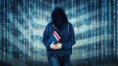 Surreal Woman Online Anonymous Internet Hacker With Invisible Face Wearing Hood, Hiding Identity, Ho poster