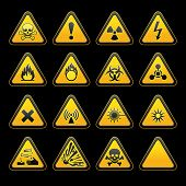 stock photo of biological hazard  - Set triangular warning signs Hazard symbols - JPG