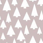 Christmas Tree Silhouettes White On A Gray Background. Modern Elegant Christmas Tree Pattern. Seamle poster