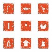 Resistance To Wear Icons Set. Grunge Set Of 9 Resistance To Wear Icons For Web Isolated On White Bac poster
