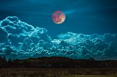Beautiful Countryside Area At Night. Attractive Red Blood Moon On Dark Sky With Cloudy Above Silhoue poster