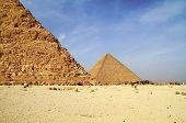 Cheops pyramid under Chefren pyramid in Giza
