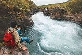 Man Traveling Relaxing Alone With River Canyon View Adventure Lifestyle Hiking Adventure Vacations O poster