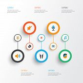 Audio Icons Flat Style Set With Musical, Compact Disk, Ear Muffs And Other Quiet Elements. Isolated  poster