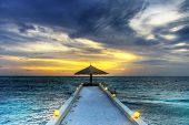 Idyllic sunset over indian ocean - Maldives