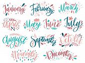 Handwritten Names Of Months: December, January, February, March, April, May, June, July, August Sept poster