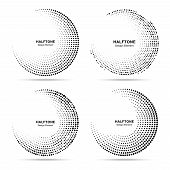 Halftone Circular Dotted Frames Set. Circle  Dots Isolated On The White Background. Logo Design Elem poster