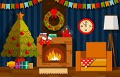 Living Room Interior. Living Room With Fireplace. Christmas Living Room Interior With Fireplace. Chr poster