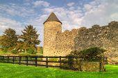 Walls of Parkes Castle in County Leitrim, Ireland