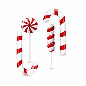 Set Of Red And Green Candies. Hard Candy Lollipop. Candy Wrapped. Vector Illustration Isolated On Wh poster