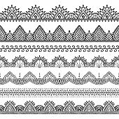 Seamless Lace Borders Set. Design Elements Can Be Used For Application Of Henna Tattoo, Washi Tapes, poster
