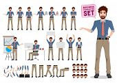 Male Business Character Creation Vector Set.  Office Man Cartoon Character Standing  And Talking Wit poster