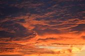 Dark Stormy Cloudy Sky Scary Dramatic Orange Clouds At Sunset / Bloody Sky Beautiful Storm Sky With  poster