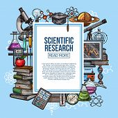 Science Research, Scientific And Laboratory Equipment Vector Sketch. Chemistry Lab Flasks, Planet Mo poster