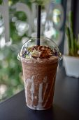Chocolate Smoothie (milkshake) With Jar In Cafe poster