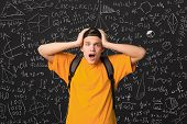 Education. Shocked Student Standing By Blackboard With Math Formulas poster