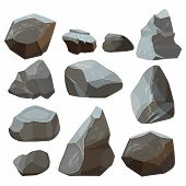 Stones Cartoon. Rock Mountains Flagstone Rocky Vector Illustrations Isolated On White Background. St poster