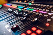 Studio Mixing Panel.sound Mixer, Audio Mixer Slide. Music Equipment Blurred Background. poster