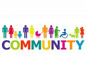 Community Concept With Colored People Pictograms And Word Community poster