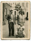 Vintage photo of happy family